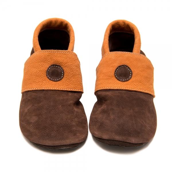 КИВИ пантофи в кафяво с оранжево от 35 до 42 размер