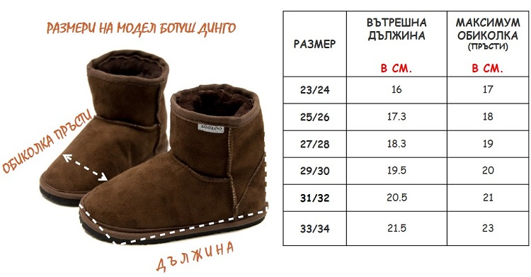 Dingo Boots Size Chart БГ